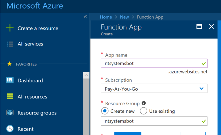 create azure function app