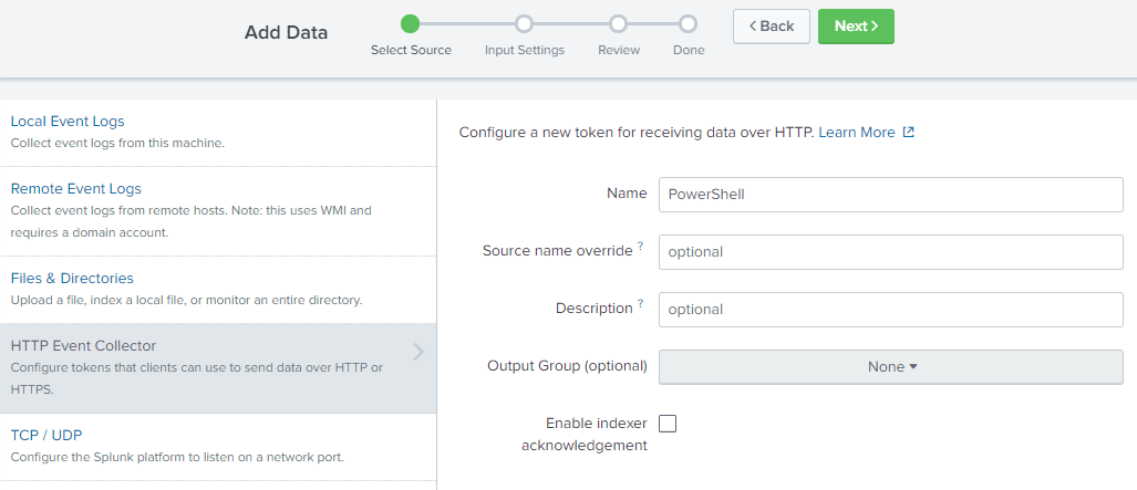 Sending events to Splunk's HTTP Event Collector with PowerShell