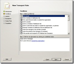 Transpor Rule Conditions